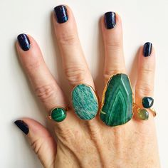 Janna Conner Malachite, Russian Amazonite, Fire Agate and Green Onyx Rings!