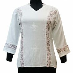 Ethnic Women White Tunic Top Boho Long Slevees Embroidered Shirt Sz M Churidar, Kurti, Black Chickens, White Tunic Tops, Tight Leggings, Ethnic, Casual Outfits, Feminine, Boho