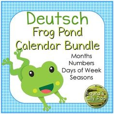 This Deutsch German calendar set includes months of the year and sets of calendar numbers in a frog pond theme.  The pieces fit well in commercial pocket chart calendars.The calendar header months of the year printables include all of the months of the year in shades of blue and green and cute friendly frogs.This file includes three complete sets of calendar numbers, each with a pattern.