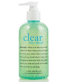 "Philosophy ""Clear Days Ahead"" acne cleanser. Started with the entire line of products and narrowed it down to this one amazing face wash. Gentle enough for my super sensitive skin."