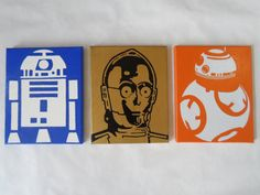 This item is reserved as a custom order.  Welcome To Collectible Canvas - Minimalist Design-Maximum Personality.  Disney Star Wars Painted Canvas Wall Hangings / Wall Art - Set of 3 - C-3PO,R2-D2 & BB-8  Set of 3 hand painted canvas paintings featuring your favorite Star Wars droids. C-3PO, R2-D2 and BB-8.Would make a great addition to your home, office or little boys room. Would also make a one of kind special birthday or Christmas gift for the Star Wars fan.  Each canvas painting h...