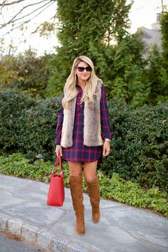 Tobi Plaid Check Dress with Tobi Fur Vest and OTK Boots Tory Burch Bag-7
