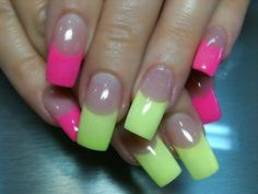 neon pink nail designs | Neon Pink and Yellow Internal Acrylic Design Summer 2012 by Orange ...