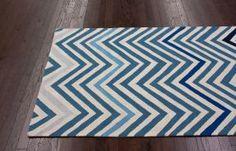 Homespun Chevron Blue Rug | Contemporary Rugs