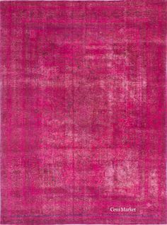 """9'3"""" x 12'7"""" Pink Vintage Persian Overdyed Rug"""