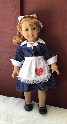 """I Love Lucy"" inspired dress and apron by MySewYouCreations on Etsy. Made following the Fifties Shirtwaist Dress pattern, available at http://www.pixiefaire.com/products/fifties-shirtwaist-dress-18-doll-clothes. #pixiefaire #fiftiesshirtwaistdress"