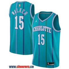 Men s Nike Charlotte Hornets  15 Kemba Walker Aqua NBA Jordan Swingman  Hardwood Classics Jersey 4d0bd877e