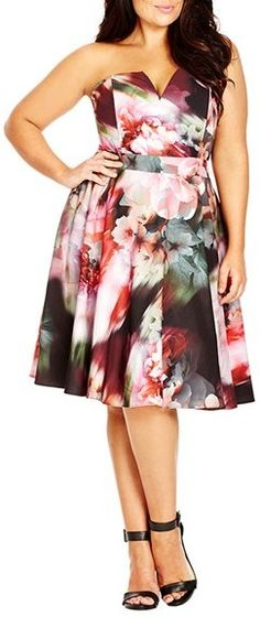 Plus Size Strapless Notch Neck Dress