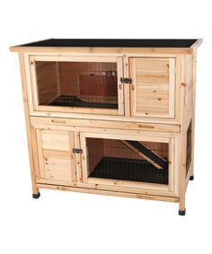 Providing your pet rabbits with a quality home, this two-story wooden hutch features four access doors, opening roof and a removable tray floor.