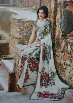 saree,printed white saree,Indian wear