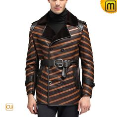 Sheepskin Shearling Coat uk for Men CW868902, check  this designer coat in