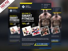 Freebie : Fitness or Gym Flyer template Free PSD