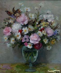 Flowers In A Glass Pot Artwork by Marcel Dyf Hand-painted and Art Prints on canvas for sale,you can custom the size and frame