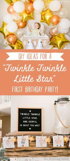 1 Year Birthday Party Ideas, 1st Birthday Girl Decorations, 1st Birthday Party For Girls, Girl Birthday Themes, Birthday Banners, Farm Birthday, Birthday Bash, Birthday Invitations, Twinkle Star Party