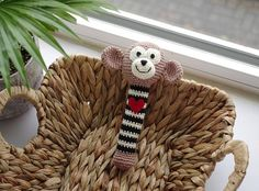 crochet monkey rattle / baby toy / shower nursery gift / black