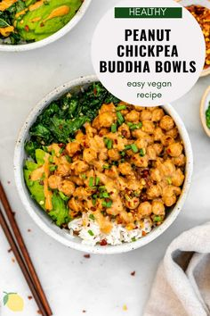 These Thai peanut chickpea buddha bowls are an easy, flavorful and healthy vegan dinner. With fresh veggies like kale, served over rice or quinoa, these chickpea bowls are a 20 minute recipe you're going to love! Finish it off with a drizzle of extra peanut sauce for good measure! #chickpeas #chickpearecipes #buddhabowl #peanutsauce Vegan Bowl Recipes, Gluten Free Recipes For Dinner, Chickpea Recipes, Healthy Pasta Recipes, Healthy Pastas, Healthy Breakfast Recipes, Meal Recipes, Vegan Food, Dinner Recipes