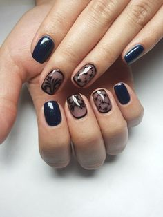 Beautiful evening nails, Beautiful nails 2016, Black and blue nails, Black dress nails, Blue nails ideas, Dark blue nails, Dark shellac nails, Dating nails