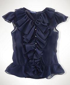 Ralph Lauren Kids Shirt, Girls Chiffon Ruffle Shirt - Kids Girls 7-16 - Macy's