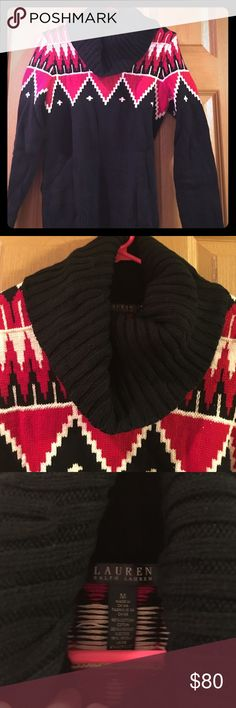 NWOT Wool blend Ralph Lauren cowl-neck sweater! Never worn! Took tags off and has been in my closet ever since! Black Ralph Lauren cowl-neck sweater with Aztec knit design along shoulders! Downsizing my closet so take advantage of the deals! Lauren Ralph Lauren Sweaters Cowl & Turtlenecks