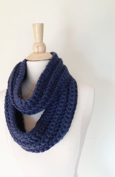 Midnight Blue CIRCLE SCARF  Rich Deep Chunky Warm by theyarnival, $27.00