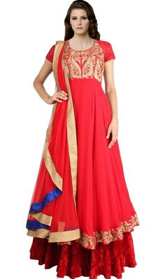 Flaunt your exuberant ethnic look dressed in this designer red georgette layered Anarkali suit. The interesting lace, resham and velvet patch work in course of dress is awe-inspiring. #NewFashionDesignerDress