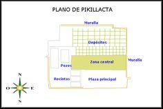 26/ HORIZON MOYEN. HUARI. Pikillacta. Ce site a été beaucoup plus étudié car il montre un plan impressionnant par la rigueur de son organisation. C'est la capitale administrative, près de la ville actuelle de Cuzco, à 300 km de la capitale Huari.