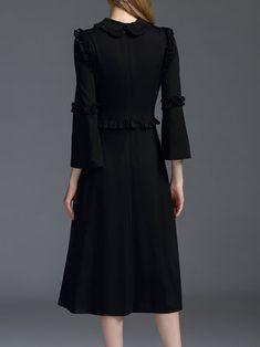 Black Elegant A-line Plain Frill Sleeve Midi Dress