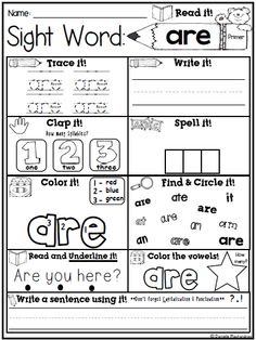 Sight Word Print & skills on each page! Sight Word Activities, Teaching Sight Words, Sight Word Worksheets, Sight Word Practice, School Worksheets, Kindergarten Worksheets, Learning Activities, Fry Sight Words, Dolch Sight Words