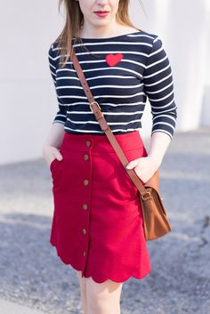 Cute Valentine's Day Tops That You Can Also Style For Work   Something Good, @danaerinw , blue and white striped shirt, striped shirt, hearts, valentine's day, valentine's day outfit, outfit inspiration, red skirt, button front skirt, scallop skirt, crossbody bag, work outfi, office appropriate #talbots #jcrew #jcrewfactory