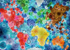 """""""Spirograph World Map"""" is a collage of individually colored Spirograph patterns that form a colorful map of the world. British artist Rachel Evans created the work over the course of two months. Prints of the collage are available on Redbubble."""