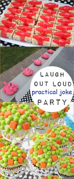 Practical Joke Party.  Laugh Out Loud Food Jokes.  Kid friendly April Fools Day tricks and jokes.  See what the piñata was filled with that left the kids speechless...