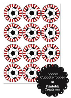 Red Sunburst Soccer Cupcake Toppers from PrintableTreats.com - available in many different colors.  Treat bag toppers too.