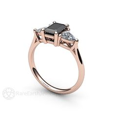 An absolutely stunning vintage inspired Black Spinel and White Sapphire three stone ring in your choice of 14K or 18K White, Yellow or Rose Gold,