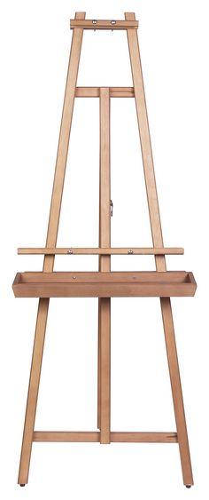 En blanco lino lienzo para pintar en caballete del pintor - Caballetes de madera ...