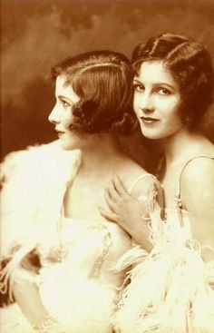 The Fairbanks Twins. Beautiful Art Deco 1920s flapper girls.
