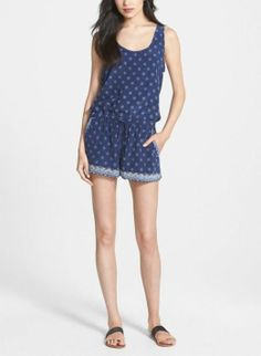 Weekend wear - Cute blue and white print silk romper