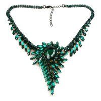 Spiral Necklace ~ Emerald ~ Black Plated