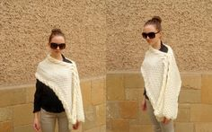 Knitted Shawl, Multifunctional Transformer Shawl, Champagne Cross Sweater, Vest Capelet Neck warmer - Knitting creation by etelina Knitted Shawls, Knitted Scarves, Knitting Daily, Capelet, Neck Warmer, Knit Crochet, Pullover, Cowls, Multifunctional