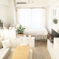 Korean Apartment Interior, Townhouse Interior, Condo Interior, Interior Design, Room Design Bedroom, Bedroom Layouts, Bedroom Decor, Studio Apartment Design, Studio Apartment Decorating