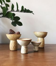 Remember these? They're yellow now and you can put up to three small pine cones in them. Ceramic Studio, Ceramic Clay, Ceramic Bowls, Ceramic Pottery, Stoneware, Pottery Videos, Clay Vase, Pottery Sculpture, Modern Ceramics