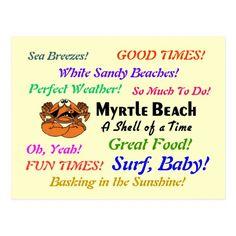 Myrtle Beach Crab Postcard