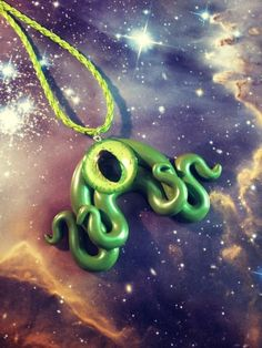 Green octopus tentacle pendant by LillyMooncat on Etsy, $14.00 http://www.etsy.com/listing/120511598/green-octopus-tentacle-pendant