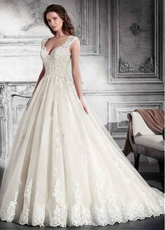 Chic Tulle V-neck Neckline A-line Wedding Dress With Lace Appliques & Beadings