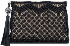 Rafe Celia Large Macrame Clutch Bag, Natural/Black on shopstyle.com