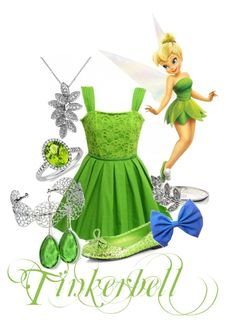Tinker Bell by sammi1616 on Polyvore featuring polyvore, fashion, style, Jones + Jones, Ellie Shoes, ASOS, Accessorize, Blue Nile, Effy Jewelry, Fathead and clothing