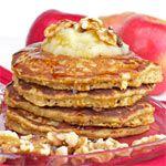 Applesauce Oatmeal Pancakes. Less sugar (1/8 c). Sub whole egg for egg whites. Add 1/2 tsp cinnamon & 1 tbsp flax. Double the recipe. Soak oats in milk.