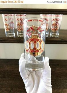 Your place to buy and sell all things handmade The Fragile, Holiday Drinks, Vintage Glassware, White Enamel, Tumblers, Vintage Christmas, Red And White, Christmas Ornaments, Glasses