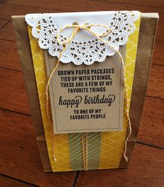 """""""a brown paper package tied up with strings...filled full of some of  your favorite things!!"""" like gum, lotion, nail polish, etc."""