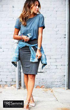 Denim Look Fashion Outfit Street Style Trend + Wavy Hair Balayage  #TRESemmé