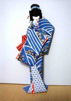 Lady in blue - Hand-made Japanese paper doll